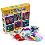 Kids 6-in-1 Cross Stitch Kit | 6 assorted embroidery boards with 36 coloured threads included | Kids Embroidery Kit