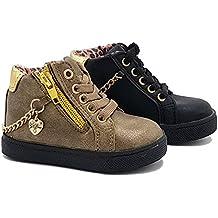giardino d'oro Shoes scarpe bimba bambina neonata primi passi autunnali invernali sportive alla caviglia casual comode con lacci cerniera e catena colore bronzo numero 19