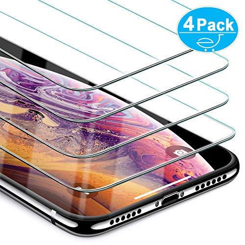 Beikell [4 Stück Displayschutzfolie für iPhone XS/X, Premium Schutzfolie mit 9H Härte, HD, Kratzfest, Blasenfrei