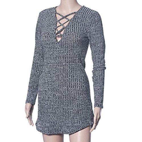 Amlaiworld Femmes Automne hiver Élasticité robes robe Bodycon Gris