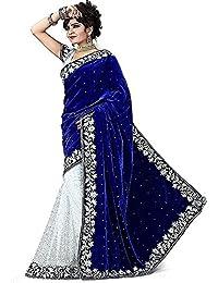 PRUTHA FASHION Velvet Saree With Blouse Piece (Blue Velvet_Blue_Free Size)