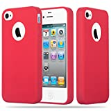 Cadorabo Hülle für Apple iPhone 4 / iPhone 4S - Hülle in Candy ROT – Handyhülle aus TPU Silikon im Candy Design - Silikonhülle Schutzhülle Ultra Slim Soft Back Cover Case Bumper