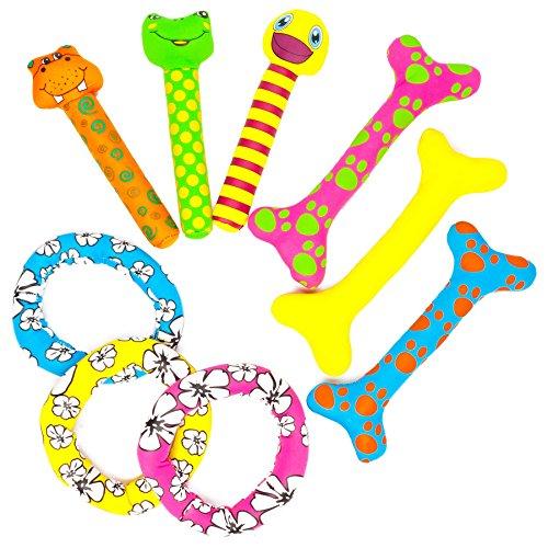 Tauchspielzeug aus Neopren mit Sand befüllt, ideale Schwimmhilfe bzw. Tauchhilfe für Kinder. Das Wasserspielzeug eignet sich fürs Freibad, Schwimmbad, See oder das Meer. Mögliche Designs des Tauchset sind Tauchstäbe, Tauchknochen oder Tauchringe