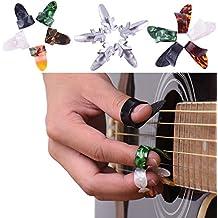 15pcs acero inoxidable dedo pulgar de celuloide púas de guitarra + funda