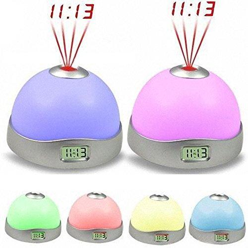 Preisvergleich Produktbild Digitaluhr LED Tischuhr Tisch- & Wanduhr, 7 Farbe, dimmbar, Wecker Ändern Stern Nachtlicht Magie Projektor LuckyGirls
