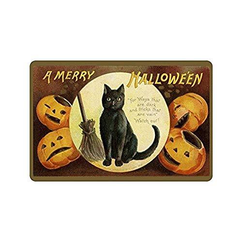 HujuTM Our Iris Machine-Washable Door Mat A Merry Halloween Decorative Doormat Indoor/Outdoor Doormat Non-Woven Fabric Non Slip Gate Pad Rug 23.6(L) x 15.7(W)
