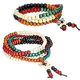 Flongo 2 PCS Bracelets 6mm Bois Lien Poignet Collier Chaîne Tibétain Bouddhiste Cinq Couleurs Santal Perle Prière Mala Chinois Noeud Élastique Homme,Femme (2 pcs)