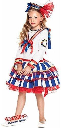 Fancy Me Italienische Herstellung Mädchen Deluxe Naval Matrose Militär Marineblau Halloween Karneval Fest Kostüm Kleid Outfit 3-10 Jahre - Weiß, 10 Years
