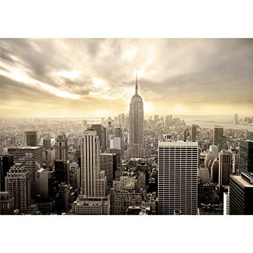 decomonkey Fototapete selbstklebend New York Stadt City 343x256 cm XXL Selbstklebende Tapeten Wand Fototapeten Tapete Wandtapete klebend Klebefolie Wolkenkratzer Sonne Braun Beige FOB0235a73XL