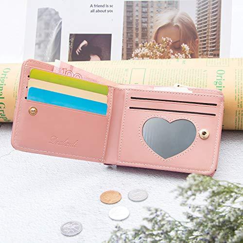 Portafoglio forma di cuore, Leenou Pelle sintetica per Portafogli donna 4 slot per schede 1 Finestra di ID, Portamonete con cerniera fibbia in metallo a forma di cuore (Rosa)