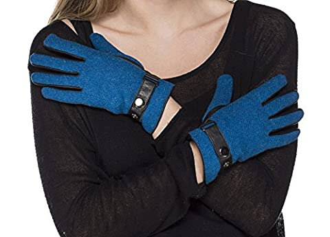 i-Smalls Women's Harris Tweed and Leather Gloves (Teal) 7
