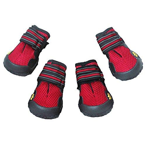 Hund Stiefel für Sommer Pfotenschutz Wasserdicht Pet Mesh Schuhe atmungsaktiv Belüftungslöcher Hund Schuhe mit Reflektierende Klettverschluss und Robuste Rutschfeste Sohle( 4-6 )