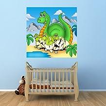"Bilderdepot24 Fotomural ""Papel pintado con dinosaurio - Madre con bebe"" 100x100 cm - Papel tejido-no tejido. Fotomurales - Papel pintado - la fabricación made in Germany!"