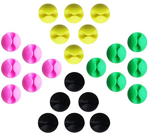 Set da 24 Pezzi di Desktop Fascette Fermacavi Colorati Incollato Forte