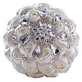 Quibine handgemachter Diamant Strass Braut Blumen Hochzeit Bouguet Rosen Blumenstrauß für Foto-Schießen, Valentinstag, Vorschlag, Heiratsantrag und besonderer Tag Geschenk