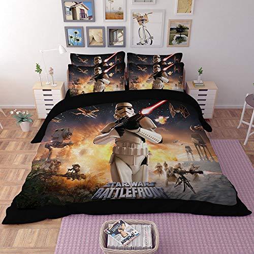 CTAO 3D Gedruckt Star Wars Bettbezug Steppdecke Bettwäsche Bett Kissenbezüge Bettbezug Bettwäsche-Sets 3 Stücke,B-173 * 218cm/AM