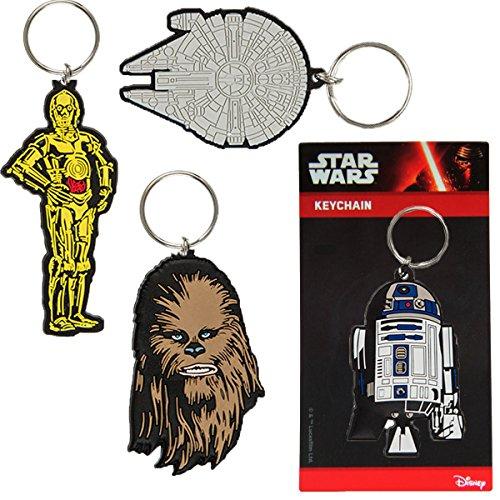 Bada Bing 4er Set Schlüsselanhänger Star Wars Krieg der Sterne R2D2 Wookie Millenium Falke C3PO 45 B