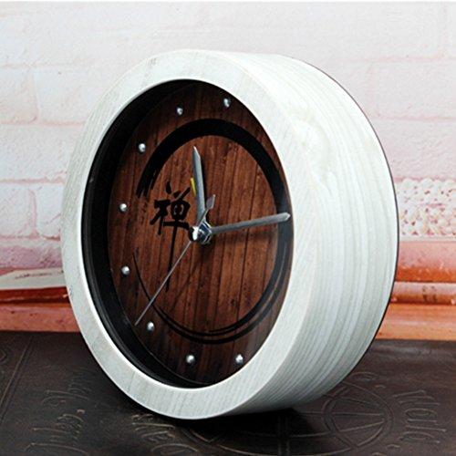 chinesischer Garten Holz Zen Wecker Schlummerwecker Schreibtisch Alarm Uhren Meditation Zen, weiß (Alarm-zen)