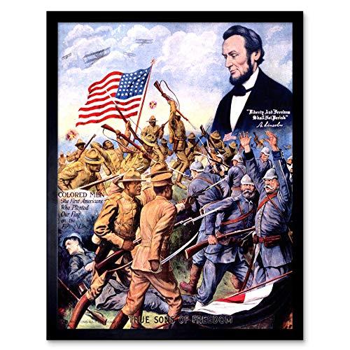 Wee Blue Coo LTD Propaganda WWI Military African American Lincoln German Soldier War Art Print Framed Poster Wall Decor Kunstdruck Poster Wand-Dekor-12X16 Zoll -