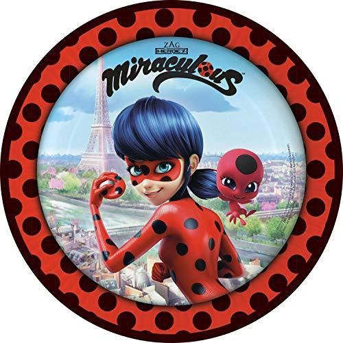 Generique - 8 Assiettes en Carton Ladybug à Paris 23 cm