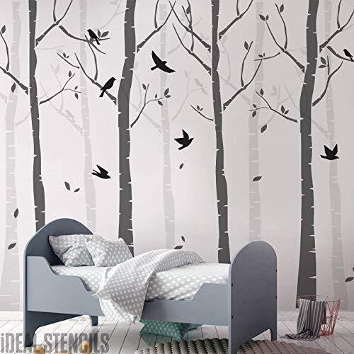 Buche Baum Wald Kinderzimmer Wand Schablone Packung Erschaffe ein Maßgeschneidert Gemalt Wandbild der Birke Bäume & Vögel in Ihrem Kinderzimmer Heim Dekor Wand Schablonen (Baum-schablone Für Die Wand)