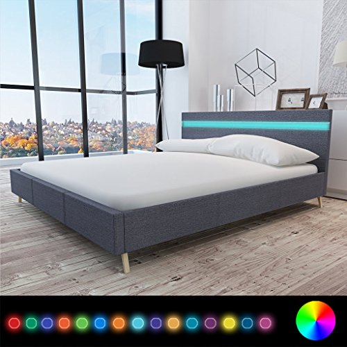 Anself Doppelbett Bett Ehebett Gästebett mit LED-Licht 180x200cm ohne Matratze Stoffbezug Dunkelgrau