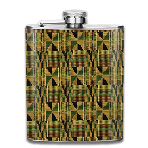 Kente Design (Kente Cloth Design Pocket Leak Proof Liquor Hip Flask Alcohol Flagon 304 Stainless Steel 7OZ Gift Box Outdoor)