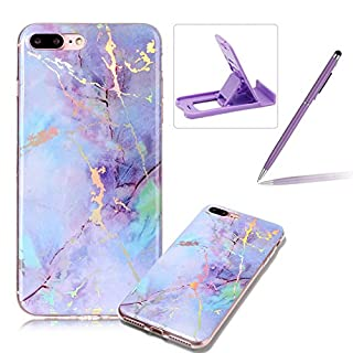 Rubber Case for iPhone 7 Plus,Soft TPU Cover for iPhone 8 Plus,Herzzer Premium Stylish Marble Pattern Scratch Resistant Slim Fit Silicone Back Cover - Purple