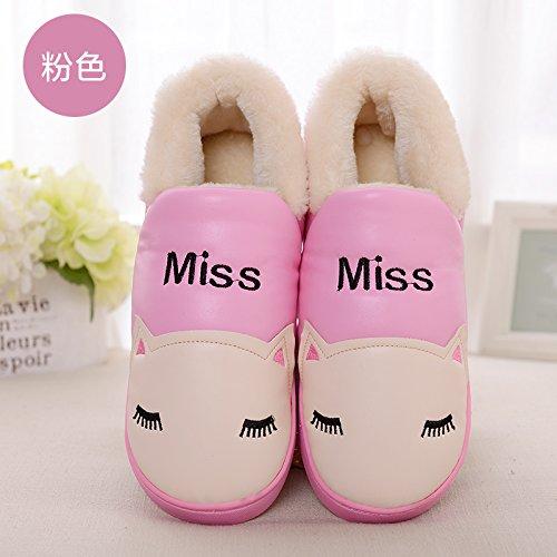 DogHaccd pantofole,Inverno PU impermeabile pantofole di cotone confezione con un paio di uomini e donne caldo soggiorno di casa con una spessa cartoon pantofole Rosa3