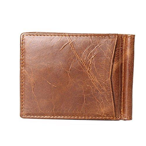 GUBINTU Geldklammer und Kreditkartenetui aus LEDER, Portmonee Herren Geldbeutel mit Geldscheinklammer   Portemonnaie mit RFID-Blocker   Brieftasche, Geldbörse mit Geldspange (Braun) Braun