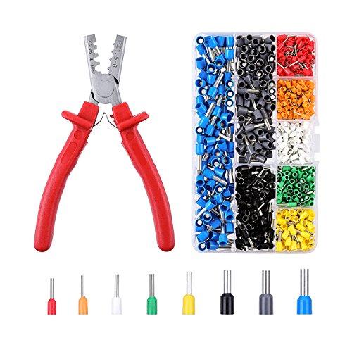 INSMA Crimpzangen set Kabelschuhzange Crimpzangen Crimpzange Presszange für Kabelschuhe Crimper Zange für Crimpen Aderendhülsenzange von 1.5~6.0mm² mit 800 stück Kabelschuhe Tool Kit Aderendhülse Kabelschuhe Crimpwerkzeug (AWG: 10~23)