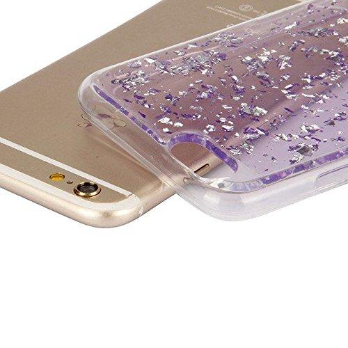 Etsue Durchsichtig Hülle für iPhone 7 Plus 2016 TPU Case Schutzhülle, Bunte Einzigartig zeichnung Muster Silikon Crystal TPU Bumper Case Transparent Ultradünnen Kirstall Weiche Silikon Handy Schutz Hü Glitter,lila
