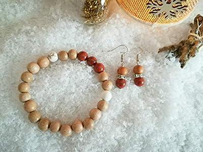 parure bracelet minceur, bracelet magnesite, bracelet pierres naturelles, boucles jaspe rouge, set cadeau, cadeau Noël, ensemble bijoux