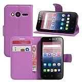 Alcatel Pixi 4 (4 Zoll) Hülle, HualuBro Premium PU Leder Wallet Flip Schutzhülle Tasche Case Cover mit Karten Slot für Alcatel Pixi 4 (4 Zoll) 4034D Smartphone (Violett)