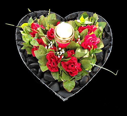♥ Grabherz mit schwarz poliertem Kies roten Rosen und Grablicht 35,0×35,0x8,0cm Grabschmuck Grabherz Herz Gabione Pflanzschale Herz Blumentopf Marmorkies Zierkies Grabstein