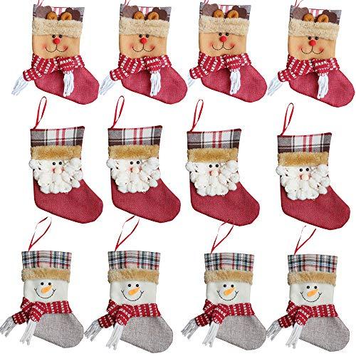 Forze Weihnachtsstrümpfe, Weihnachtsmann, Schneemann, Rentier, Geschenkkarte, Besteckhalter, 12 Stück