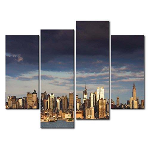 ür Home Decor NEW YORK HOCHHAUS by the Sea 4Stück Gemälde Moderne Giclée-gespannt und gerahmt Artwork Öl der City Bilder Foto Prints auf Leinwand (Das Empire Hotel New York Halloween)