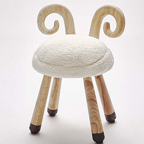 LongYu Nordeuropa Lamb Stuhl Kinderzimmer Dekoration Massivholz Mini Hocker Kinderzimmer mit Shooting Requisiten Eiche Kissen Kinderstuhl (Color : A) (Mini-falte-stuhl)