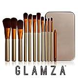 Glamza - Juego de 12 brochas de maquillaje con estuche de metal, color dorado y blanco