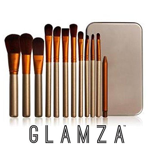 Glamza 12PC oro e bianco viso fondotinta Eye lip pennelli da trucco con custodia in metallo