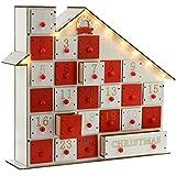 WeRChristmas Calendario de Adviento, 33 cm, casa de madera con luces LED, blanco