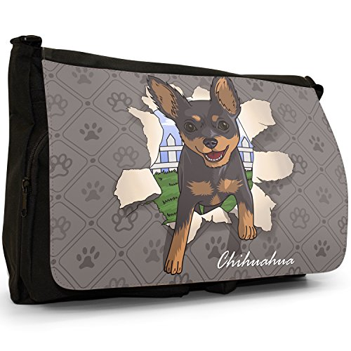 Spezzare cani grande borsa a tracolla Messenger Tela Nera, scuola/Borsa Per Laptop Chihuahua Breaking Through