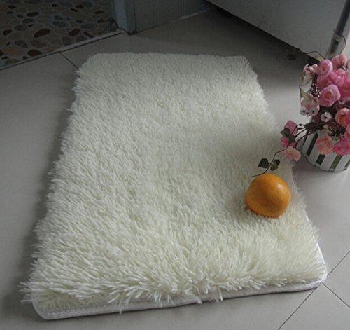 Xuxuou Alfombra para el hogar Manta sólida y pura blanca Alfombrilla para mascotas Alfombra de salón antideslizante de cachemira artificial 60cm x 40 cm 1pcs