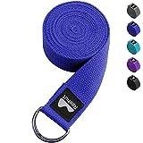 REEHUT Correa para Yoga - Cinturón con Hebilla Metal D-Anillos de Poliéster Algodón Resistente para Ejercicios de Estiramiento, Fitness, Pilates y Flexibilidad (Azul Oscuro,1.8m,6ft)