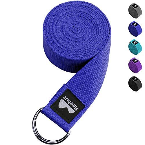 REEHUT Correa para Yoga - Cinturón con Hebilla Metal D-Anillos de 100% Algodón...