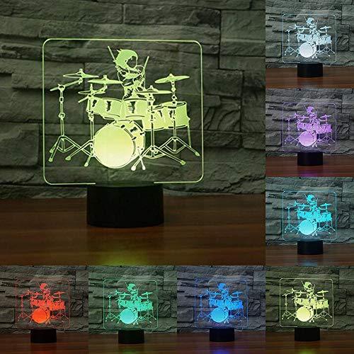 CFLEGEND Jazz Drum Touch Lampe Drum Kit 7 Farbe Ersatzlampe 3D Licht Neuheit Führendes Nachtlicht Als Geschenk - Ersatzlampe Kits