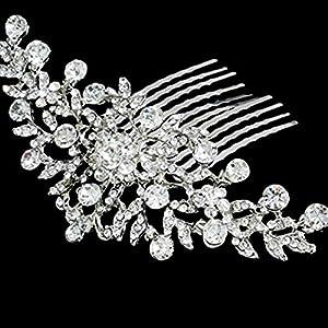 NiceButy Moda Donne Capelli retrò Strass Petalo Tuck Pettine Ornamento Charme da Sposa Griffe Spillo Capelli Forcella Accessori Mano Gioielli per l' Uso quotidien-11* 4.5cm-1pc utili e Molti