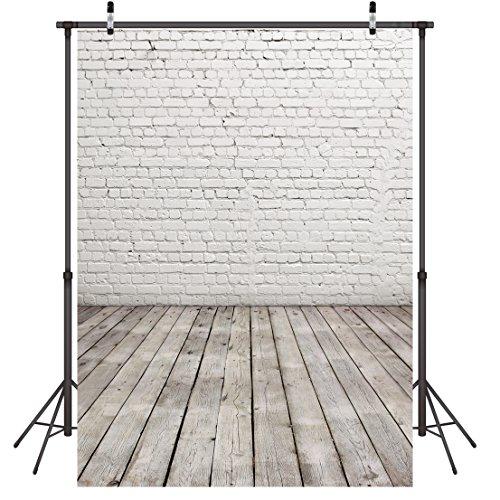 LYWYGG 5 x 7FT Vinyl Fotografie Hintergrund Weiß Brick Wand Holz mit Boden Foto Hintergrund Studio Requisiten CP-11
