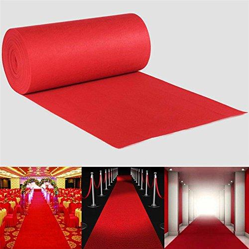 100x 500cm, rot Boden Läufer–huplue rot Teppich Hochzeit Dekoration für Läufer Gang Celebration Öffnung Party Events - Hochzeit Gang Rot Läufer