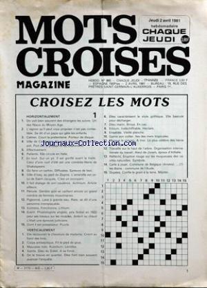 MOTS CROISES MAGAZINE [No 865] du 02/04/1981 - mots croises